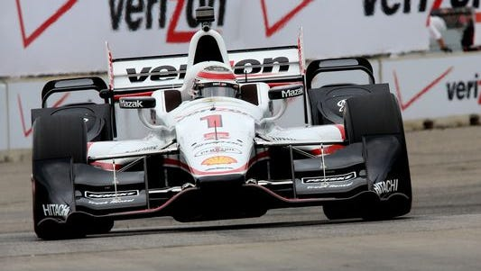 Will Power on the track in Detroit during practice for this weekend's IndyCar doubleheader at Belle Isle.