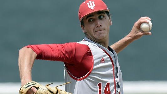 Indiana pitcher Kyle Hart (14) throws against Radford during the first inning of Friday's game at the Nashville Regional of the NCAA college baseball tournament.