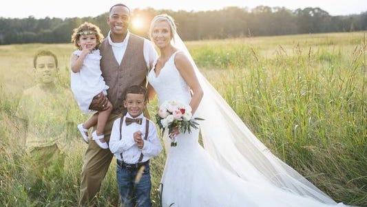 Lake Bozman photoshopped into his mother's wedding day photo.