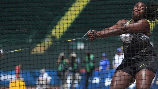 Amber Campbell competes during the women's hammer throw qualifying in the 2016 U.S. Olympic track and field team trials at Hayward Field.