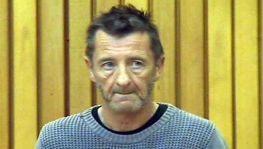 Phil Rudd in New Zealand court in a frame grab from TVNZ taken on Nov. 6.