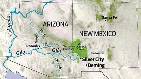 Map of Gila National Forest.
