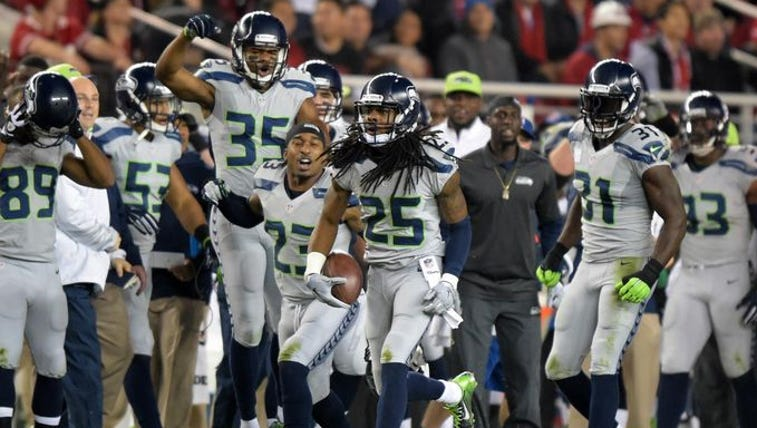 Seattle Seahawks cornerback Richard Sherman (25) celebrates
