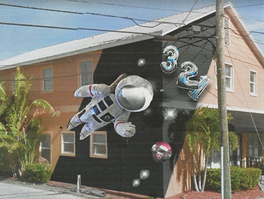London artist Fanakapan will paint this mylar-balloon mural on Next Level Digital Marketing on Montreal Avenue during Eau Gallie's upcoming Anti-Gravity Project mural festival.