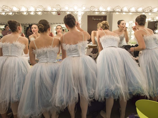 Ballerinas prepare for a dress rehearsal of the Canyon