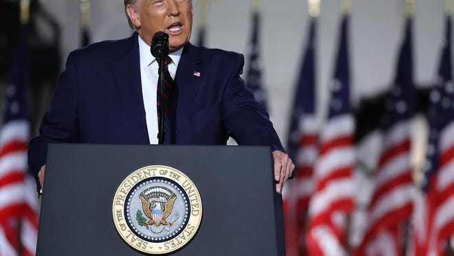 President Donald Trump delivers his acceptance speech for the Republican presidential nomination on the South Lawn of the White House on Thursday, Aug. 27, 2020, in Washington, D.C.