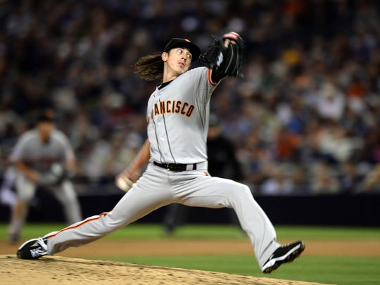 San Francisco's Tim Lincecum pitches against the San