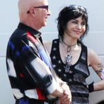 Rock and Roll Hall of Fame members Joan Jett (center) and Darlene Love along with Paul Shaffer  film a video along Lake Avenue in Asbury Park on July 29.