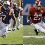 At left, in an Oct. 10, 2015, file photo, LSU running back Leonard Fournette (7) runs against South Carolina during the first half of an NCAA college football game in Baton Rouge, La. At right, in a Jan. 1, 2015, file photo, Alabama running back Derrick Henry (27) carries the ball for a first down in the first half of an NCAA college football game against Ohio State, in New Orleans. Perhaps out of respect _ if not reverence _ teammates of LSU's Leonard Fournette and Alabama's Derrick Henry seem to resist comparing the two running backs. Regardless, the similarities and differences of two of the nation's most powerful runners will come into focus when they lead their Top 10 teams onto the same field on Saturday night. (AP Photo/File)