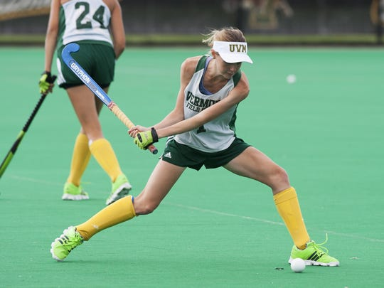 Greer Wilson, from Brisbane, Australia, hits the ball during the UVM field hockey practice at Moulton Winder Field on Wednesday morning in Burlington.