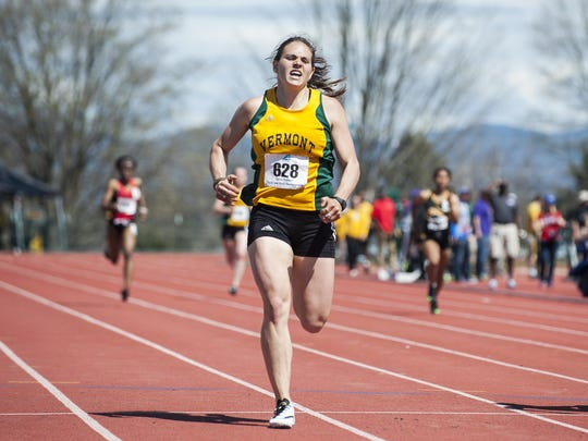 Vermont's Dana Gaetani competes in the 400m dash during the America East track and field championships at the Frank H. Livak Facility on the campus of the University of Vermont on Saturday.