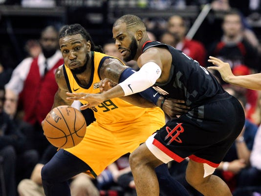USP NBA: PLAYOFFS-UTAH JAZZ AT HOUSTON ROCKETS S BKN HOU UTA USA TX