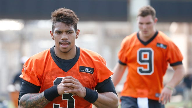 Four-year professional quarterback Terrell Pryor stretches during Cincinnati Bengals rookie camp Friday.