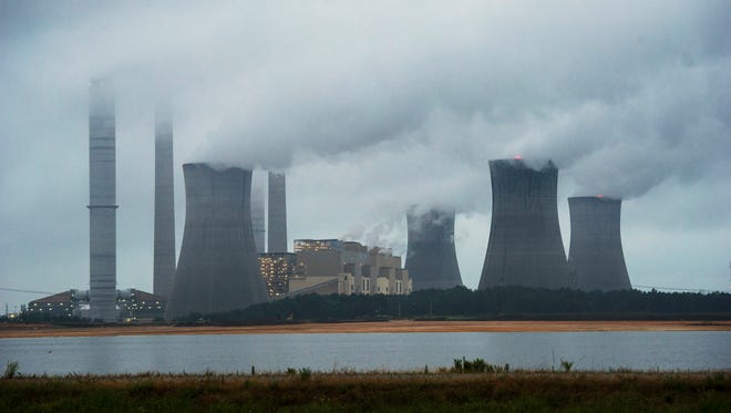 The Georgia coal-fired plant is shown in operation last week. The Obama administration had unveiled a plan to cut carbon dioxide emissions from power plants by nearly a one-third over the next 15 years, in a sweeping initiative to curb pollutants blamed, in part, for causing global warming.