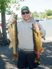 Walleye angler Ben Boileau of Burlington shown on Saturday.