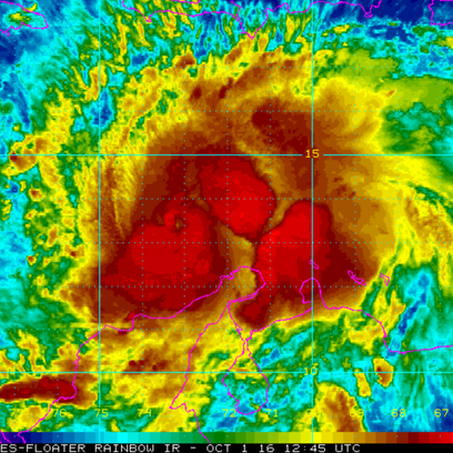 An infrared image of Hurricane Matthew captured around
