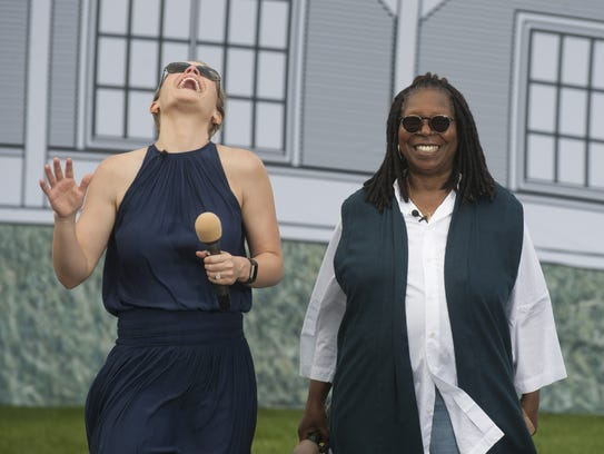 The View's Sara Haines and Whoopi Goldberg wait to