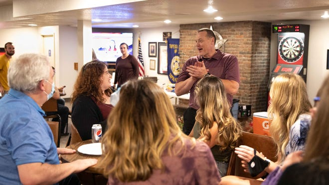 Incumbent Brian Hill celebrates with guests at his watch party as the Kansas primary election results show him as the Republican candidate for Shawnee County sheriff in the 2020 general election. The Incumbent hosted his election watch party Tuesday evening at the FOP Lodge at 2469 S.E. 45th Street.