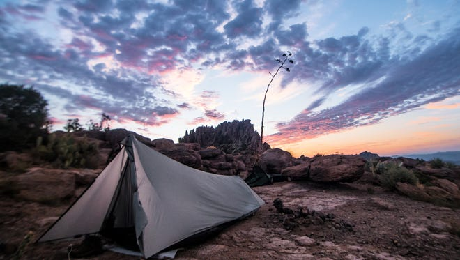 """After camping overnight at the Flat Iron plateau in the Superstition Mountains, Anthony Swann of Scottsdale says he """"woke up to the most amazing sunrise I've seen in years! I hopped out of my tent and snapped that picture!"""" See more of his photos at instagram.com/swanndive."""