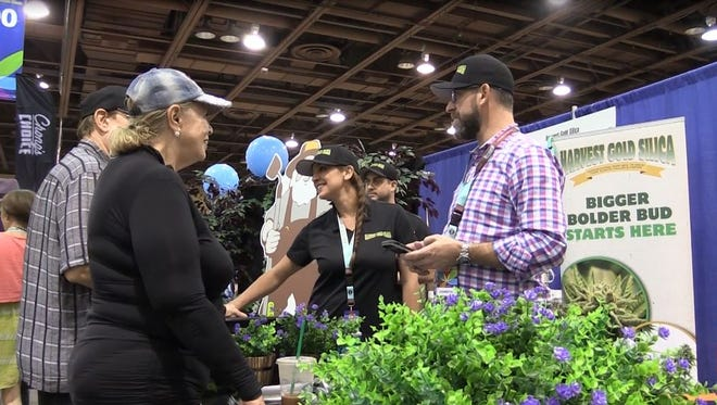 Vendors showcase their products at the third annual Southwest Cannabis Conference and Expo at the Phoenix Convention Center on Oct. 13, 2017.