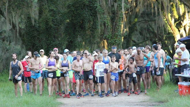 The starting line of the Phipps Trail Run of the Gulf Winds Track Club Summer Trail Series.