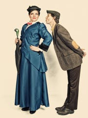 """Tim Barden took some posed shots of the two leading players in costume for the upcoming Lyric Theatre Company's production of """"Mary Poppins"""" and gave them a Norman Rockwell treatment. Pictured here are Elizabeth Pattison of Burlington (Mary Poppins) and Robert O'Neil of Hinesburg (Bert)."""