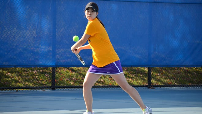Ayaka Yoshino became the career wins leader for women's tennis at Elmira College on Saturday in the team's victory over Houghton.