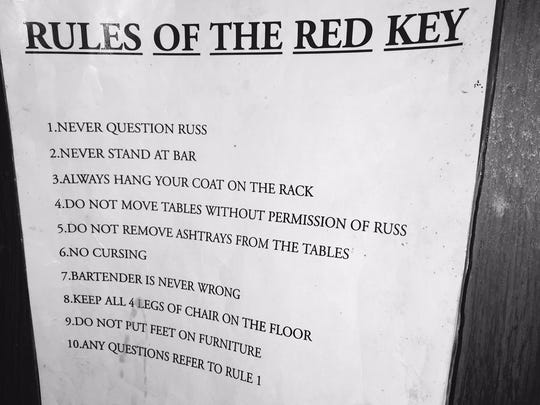 Signage showing the rules at the Red Key as laid down by Russ Settle.
