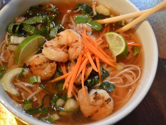 Shrimp pho from Hobos restaurant.