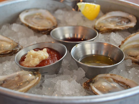 Freshly shucked oysters from Fins Ale House and Raw