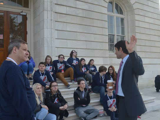 Republican Rep. Garret Graves talks Thursday to students