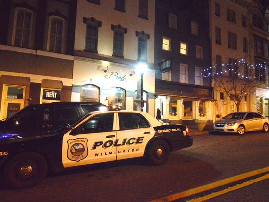 Police respond to an accidental shooting on Market Street in Wilmington in January.