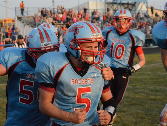 Ridgedale's Joshua Patterson reacts after the Rockets