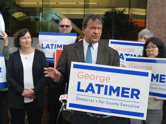 George Latimer, and Nancy Barr, left, at a campaign