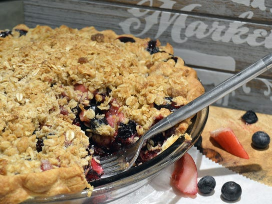 Bluebarb pie substitutes blueberries for strawberries