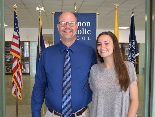 Student: Hannah Callihan, right, with her mentor, Greg