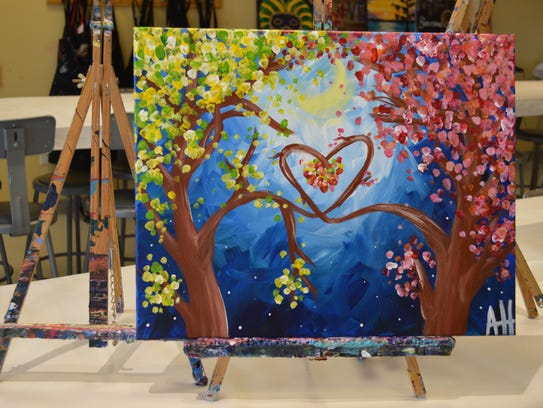 Paint pictures drink wine at this special 39 valentine 39 s for Painting with a twist arizona