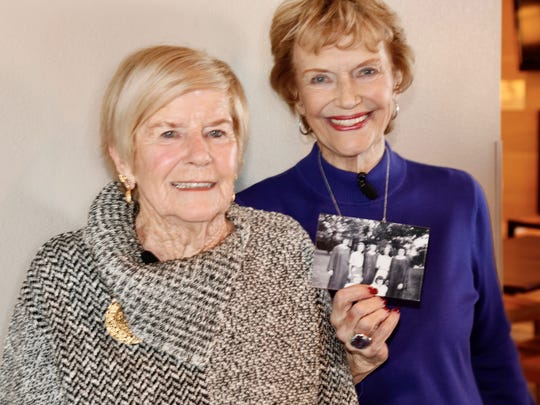 Longtime Ventura resident Shirley Lorenz Shanahan, left, and Santa Clarita resident Karen Winger hold a picture of their roommates from 70 years ago at St. Cloud State University during a reunion Friday in Minnesota. The two have been saving money for three years to attend the Super Bowl on Sunday in their home state.