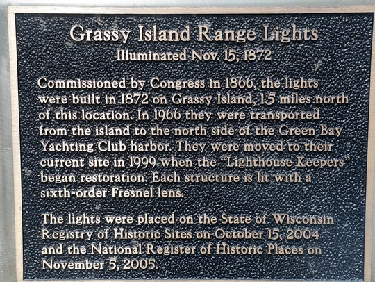 Plaque outside the door of the south Grassy Island