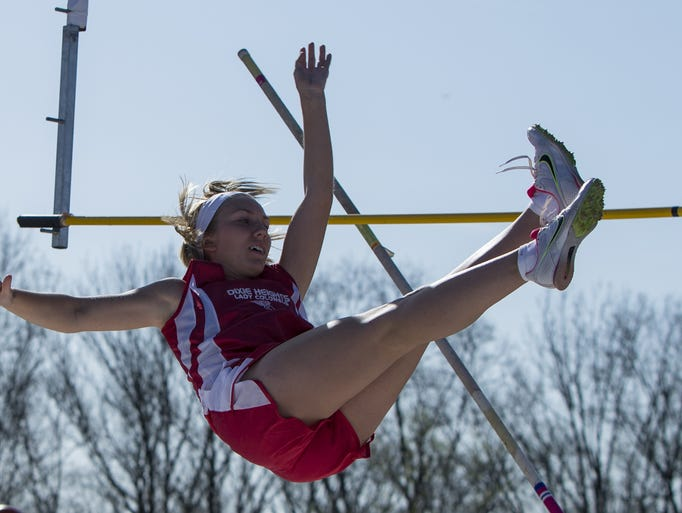 Dixie Heights' Sara Edgett competes in the girls' pole vault during a meet Tuesday.
