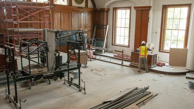 Work continues inside a former courtroom that will become a common area at the Courthouse Lofts.