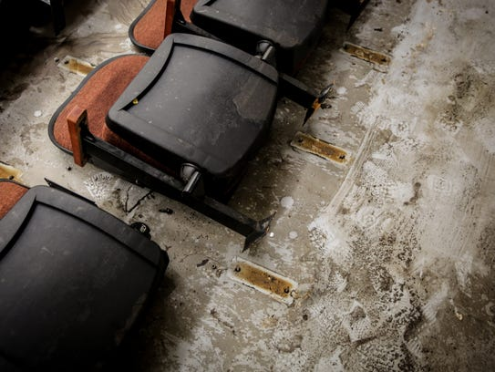 The Lely High School auditorium sits damaged Thursday,