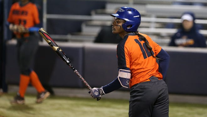UTEP's Mariah Ellis hit a 3-run home run against New Mexico State Tuesday night at Helen of Troy Field.