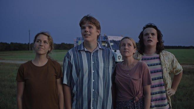 "From left, Hannah Black, Owen Scheid, Megan Petersen and Drew Scheid in ""Drought,"" made locally in 2018."