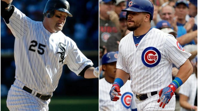 Peorian Jim Thome, left, rounds the bases after he hit his career 500th home run. The Hall of Famer sees similarities between he and Cubs slugger Kyle Schwarber, who will be playing designated hitter this season for Chicago.