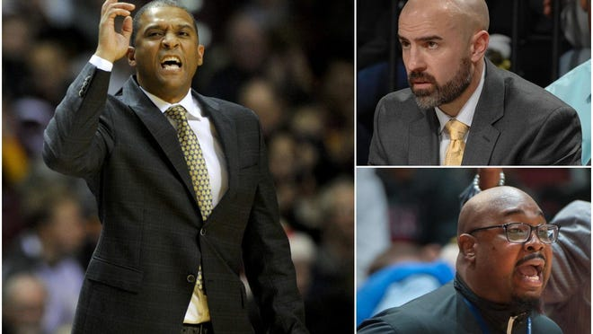Western Illinois men's basketball head coach Rob Jeter, left, has built a close-knit coaching staff that includes associated head coach Chad Boudreau, upper right, and former Chicago Morgan Park coach Nick Irvin, bottom right.