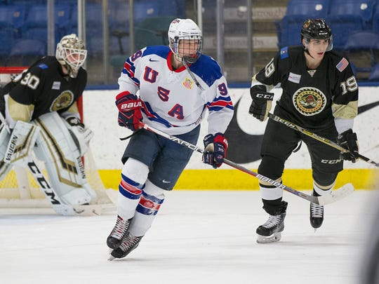 Tyler Weiss, shown here playing for the United States under-18 team, was drafted by the Colorado Avalanche in June.