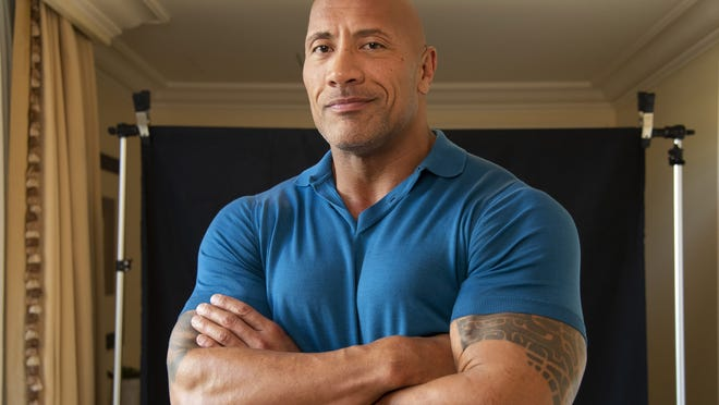 """July 16, 2019; Los Angeles, CA, USA;  Portrait of Dwayne Johnson who stars in """"Hobbs and Shaw"""" a spinoff of the successful """"Fast and Furious"""" franchise. Portrait made at the Montage Hotel in Beverly Hills. Mandatory Credit: Robert Hanashiro-USA TODAY"""