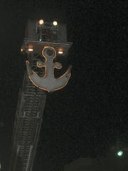Shippensburg's New Year's anchor, outlined in lights,