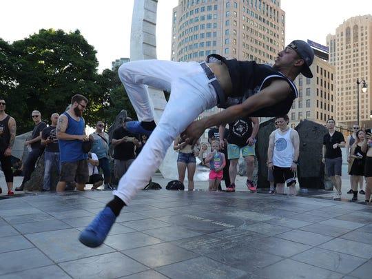 Emerson Riera of Detroit dances during the Movement